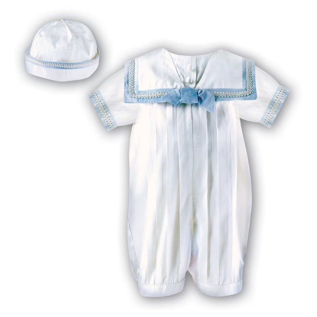Sarah Louise 002238 / 238 Silk Christening Romper & Hat - Ivory & Blue - Short Sleeved