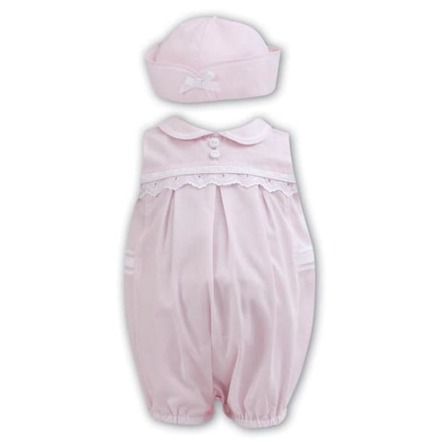 Sarah Louise 011171 Baby Girls Pink Bubble Romper & Hat - Babysuit