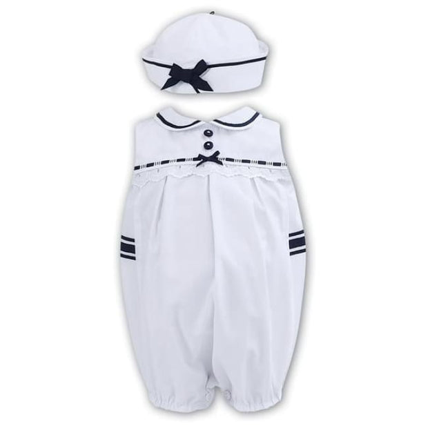 Sarah Louise 011171 White Navy Baby Girls Romper Onesie - Girls Oufits