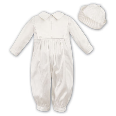 Sarah Louise 216 Silk Christening Romper And Hat