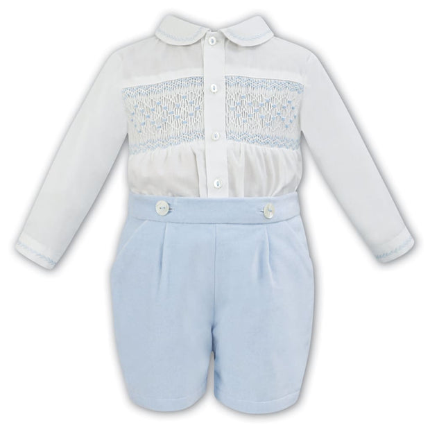 Sarah Louise Aw18 Boys Ivory & Blue Hand Smocked 2 Piece Outfit 011253 - Boys Outfits