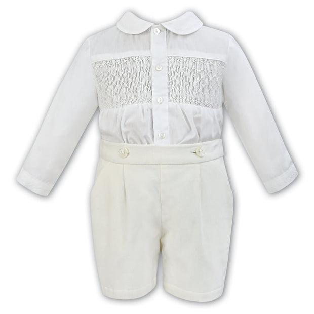 Sarah Louise Aw18 Boys Ivory Hand Smocked 2 Piece Set 011253 - Boys Outfits