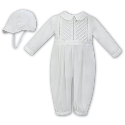 Sarah Louise Aw18 Ivory Christening Romper & Cap 011250 - Boys Romper Outfits