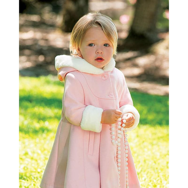 Sarah Louise Aw18 Pale Pink Coat With Hood 011423 - Coat