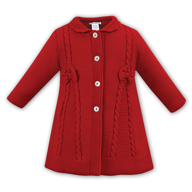 Sarah Louise Aw18 Red Knit Woolen Coat 008063 - Coat