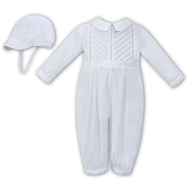 Sarah Louise Aw18 White Christening Romper & Cap 011250 - Boys Romper Outfits