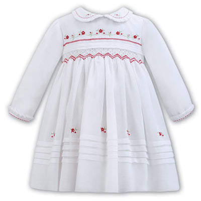Sarah Louise Aw18 White & Red Voile Christmas Dress 011304 - Dress