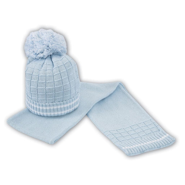 Sarah Louise Blue Hat & Scarf Set 008025P - Scarf And Hat Sets