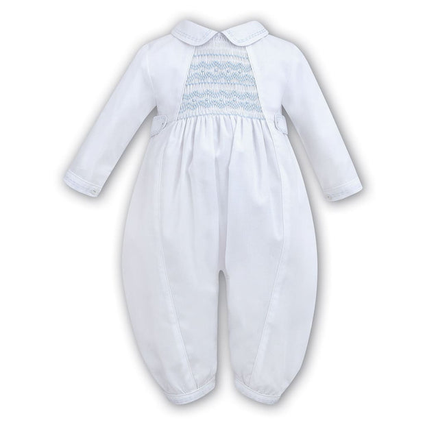 Sarah Louise Boys Long Sleeve Smocked Christening Romper 002219 - Christening Rompers