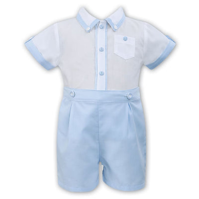 Sarah Louise Boys White / Blue Shorts Outfit 011569 - Babysuits