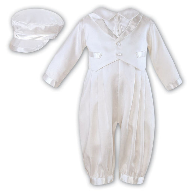 Sarah Louise Boys White Christening Romper And Cap 210 - Christening Rompers