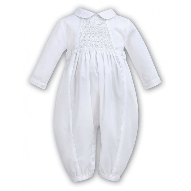 Sarah Louise Boys White Long Sleeve Smocked Christening Romper 002219 - Christening Rompers