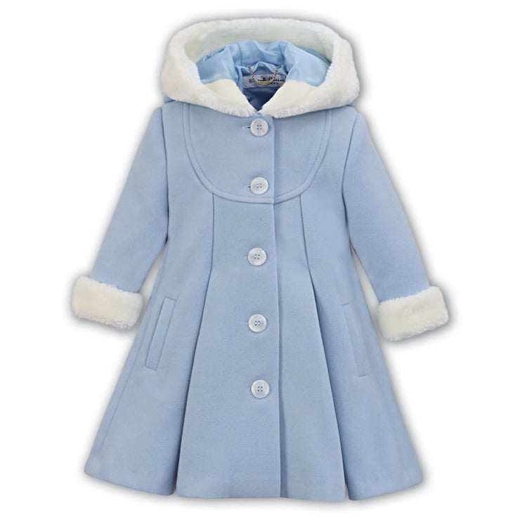 ae3807c07b52 Sarah Louise Pale Blue Fur Trimmed Coat with Hood 011423 – Just ...