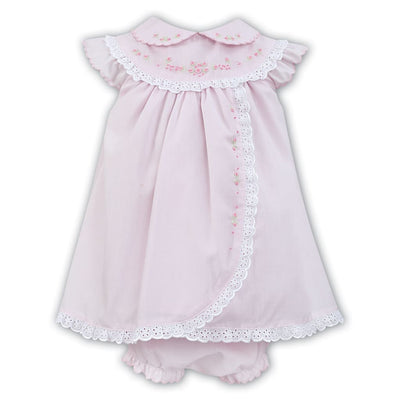 Sarah Louise Pink / White Baby Dress & Knickers 011457 - Dresses