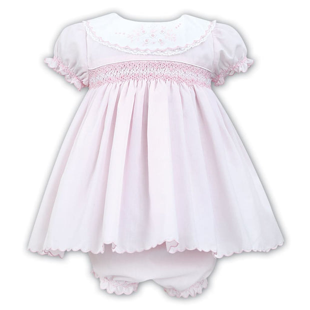 Sarah Louise Pink/white Dress & Knickers Set 011460 - Dresses