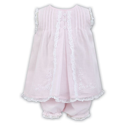 Sarah Louise Pink/white Dress & Knickers Set 011463 - Dresses