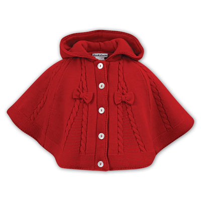 Sarah Louise Red Knitted Poncho 008061 - Poncho