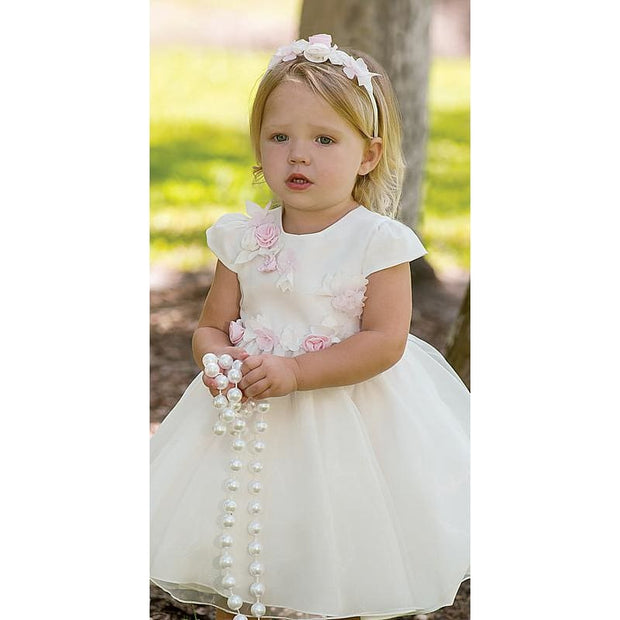 Sarah Louise Special Occasion Dress 070056 Ivory/pink - Dress