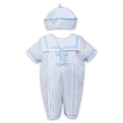 Sarah Louise White / Blue All In One Romper 011567 - Babysuits