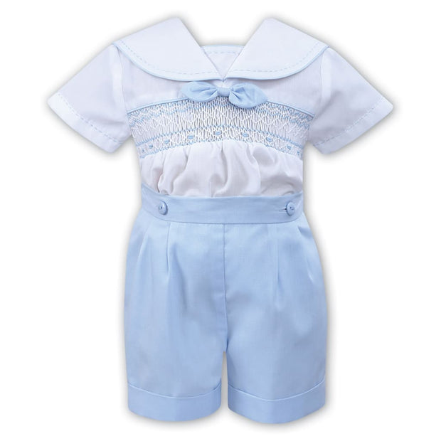 Sarah Louise White / Blue Boys Smocked Sailor Style Shorts Outfit 011503 - Outfits & Sets