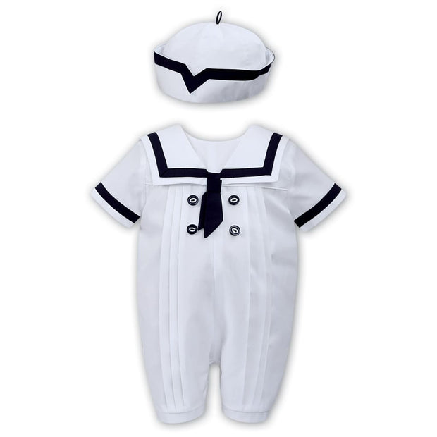 Sarah Louise White / Navy All In One Romper 011567 - Babysuits