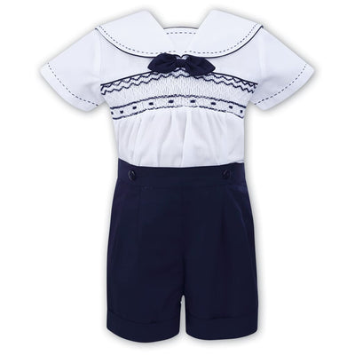Sarah Louise White / Navy Boys Smocked Sailor Style Shorts Outfit 011503 - Outfits & Sets