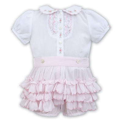Sarah Louise White / Pink Shorts Outfit 011482 - Outfits & Sets