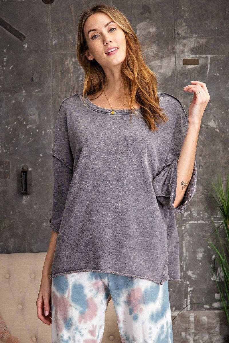 Ash Mineral Washed Boxy Top