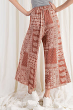 Load image into Gallery viewer, Crimson Paisley Wide Leg Comfy Pants
