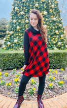 Load image into Gallery viewer, Red Buffalo Plaid Swing Dress
