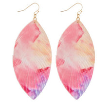 Load image into Gallery viewer, Multi Tie-Dye Feather Earrings