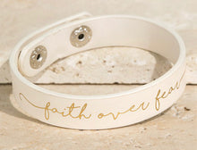"Load image into Gallery viewer, ""Faith Over Fear"" Leather Bracelet"