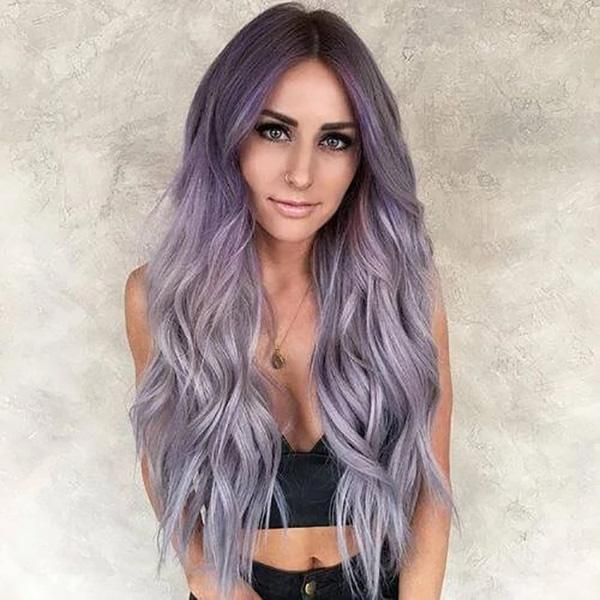Girl Wavy Long Purple Wigs