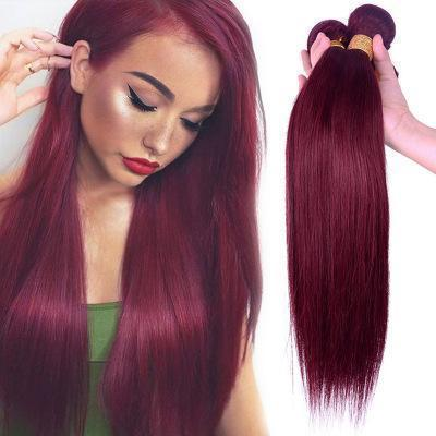 100% Human Hair claret-red straight hair weft