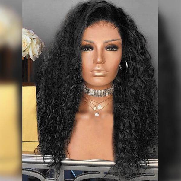 Black Curly Heat-resistant Full wig