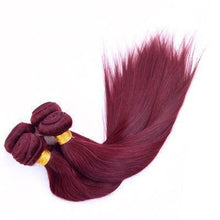 Load image into Gallery viewer, 100% Human Hair claret-red straight hair weft
