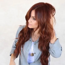 Load image into Gallery viewer, Long Red Brown Glueless Heat Resistant Wig