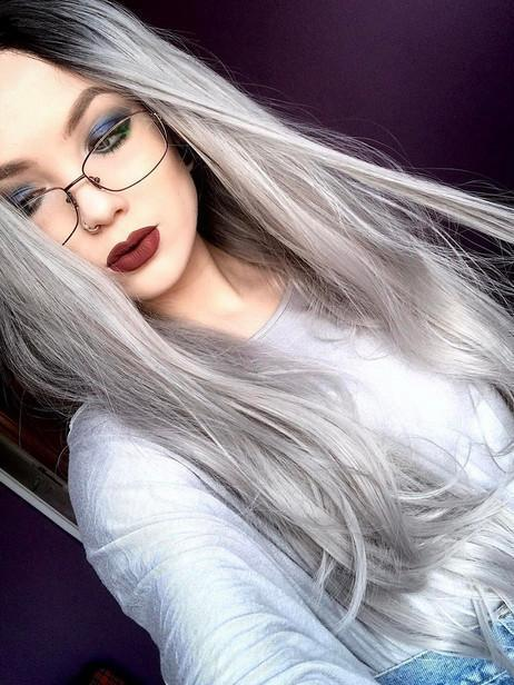 Gray wig natural big wave