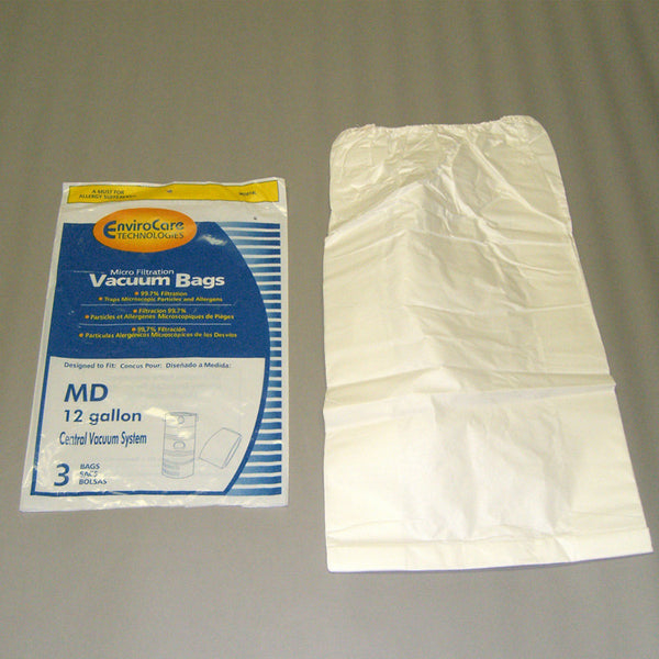 Built-In Paper Bag, 12 Gal Micro  Elastic Top 3 Pk, 814MDL