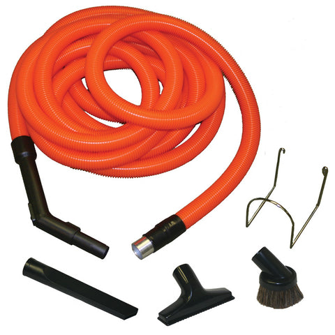 30' garage Central vacuum kit. Bright Caution Orange with Tools and Holder - MonsterVacuum.com