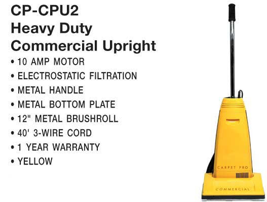 Carpet Pro Vac, Upright Vacuum 10a 40' 3-wire Cord, CPU2