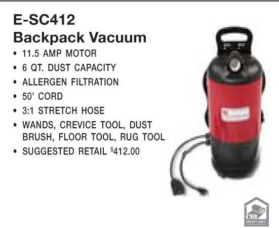 "Eureka Vac, Backpack Vacuum 1 1/2"" Tools 50' Cord Bv2 Bag, SC412A"