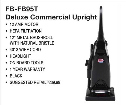 "Fuller Brush Vac, Black Commercial 12a 12"" 40' Cord Obt Headlgt, FBP-95T"