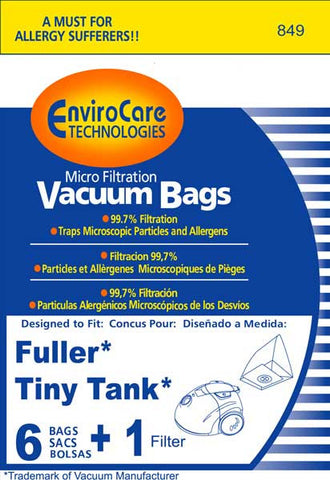 Fuller Brush Paper Bag, 6pk For Tiny Tank, 849