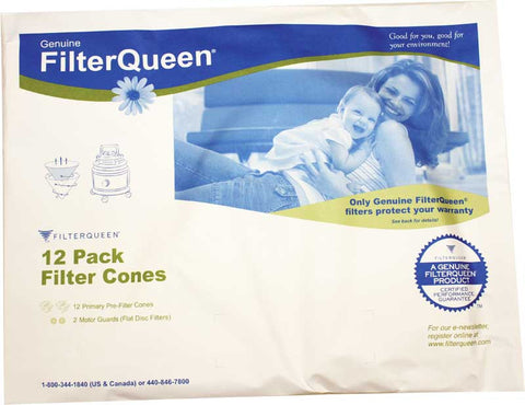 Filter Queen Cones, Filter Queen 12pk W/2 Disc Filter Paper Bag, 5404012000