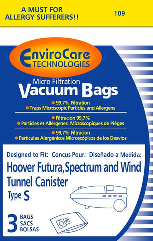 Hoover Paper Bag, Hoover Type S Microfilter Env 9pk, 109-9