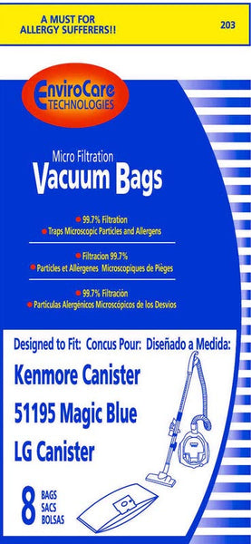 Kenmore Paper Bag, Style M 51195 Magic Blue & Lg Can 8pk, 203