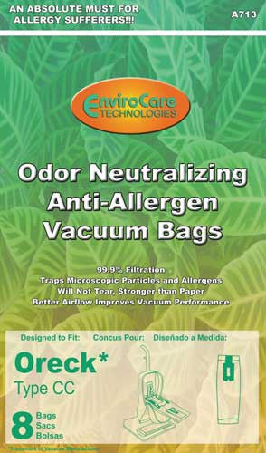 Oreck Paper Bag, Cc Allergen   Cloth Charcoal Env 8pk, A713