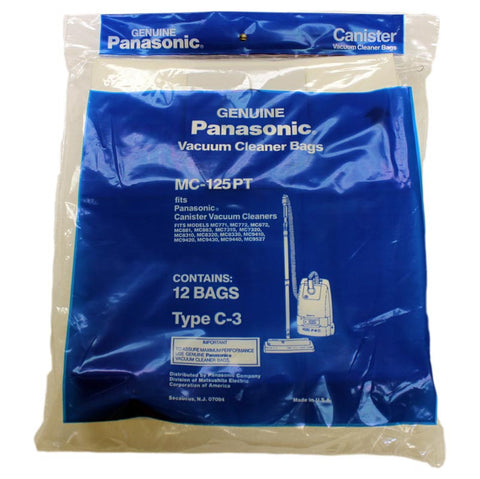 Panasonic Paper Bag, Pana Type C3  Can Except 7080/7190 12pk, MC125PT