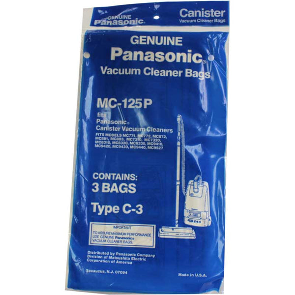 Panasonic Paper Bag, Pana Type C3  Can Except 7080/7190  3pk, MC125P
